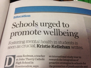 Schools urged to promote wellbeing.  Newspaper article headline